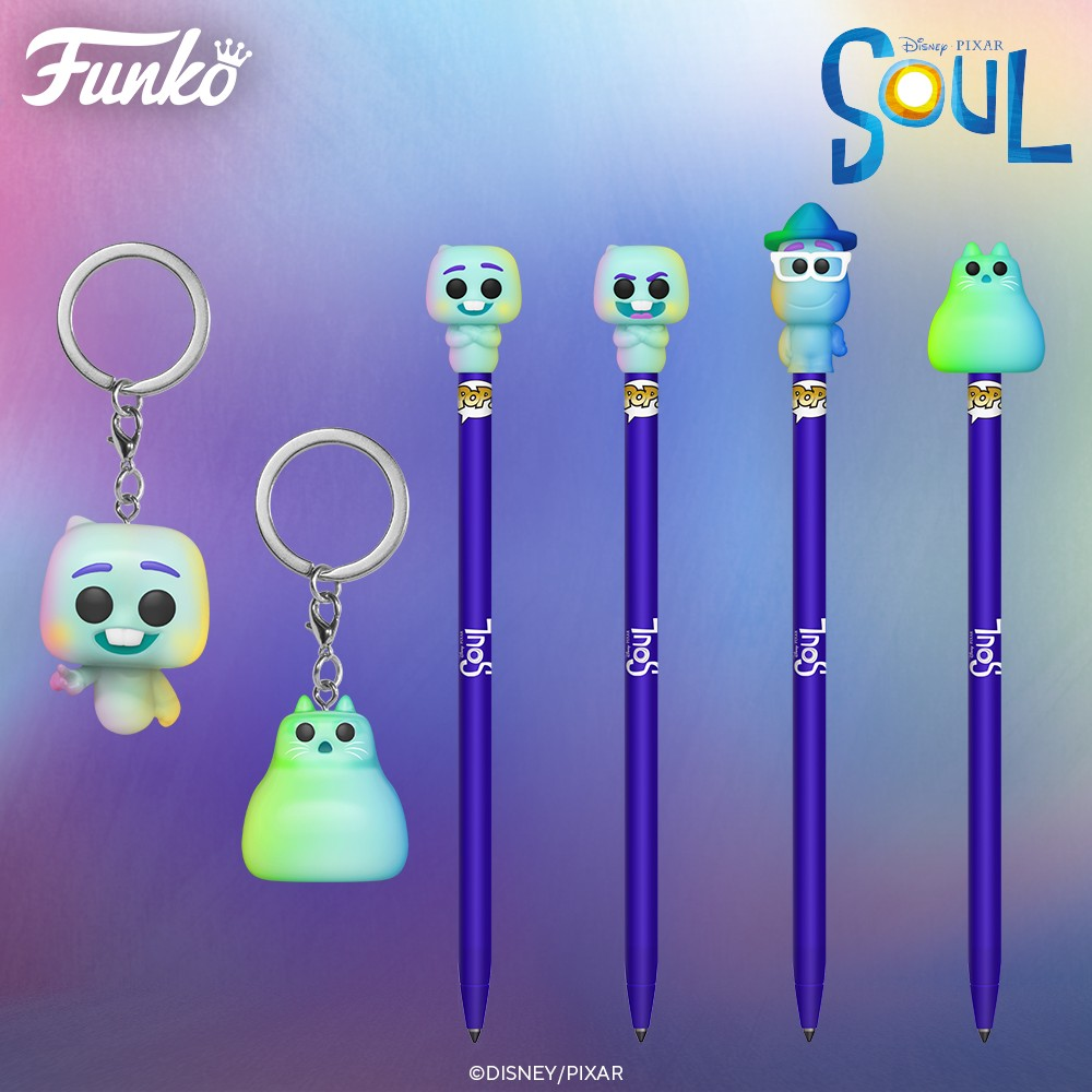 Showing the Funko keychain and pen collection featuring Soul characters