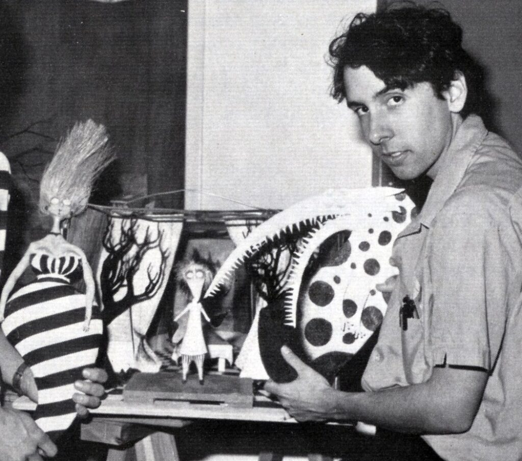 """A young Tim Burton working on his popular short """"Vincent"""""""
